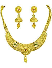 Surat Diamonds Round Shaped Colored Stone And Gold Plated Necklace & Earring Fashion Jewellery Set For Women (...