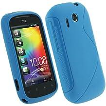 igadgitz Azul Case TPU Gel Funda Cover Carcasa para HTC Explorer + Pantalla Protector