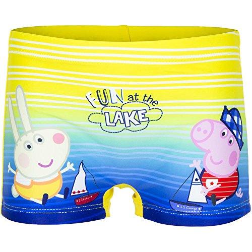 Peppa Wutz und George (Peppa Pig) Jungen Badehose Badeshort Gelb-Blau, 6-8 Jahre (128)