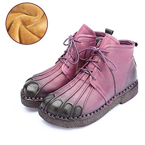 Vogstyle Femmes Main en Cuir Véritable Mère Chaussures Style-1 Toison Violet