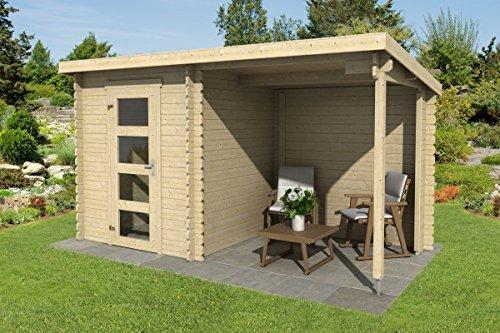 Gartenhaus G241 - 28 mm Blockbohlenhaus, Grundfläche: 6,48 m², Pultdach