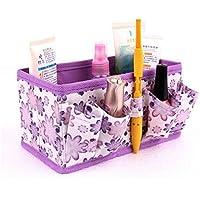 Tongshi Nuevo maquillaje cosmético Caja de almacenamiento Bolsa brillante Organizador plegable Papelería Container (púrpura)