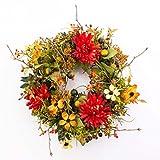 Künstlicher Herbstkranz mit Chrysanthemen, Hartriegel, Beeren, orange-rot, Ø 30 cm - Herbstdekoration / Türkranz - artplants