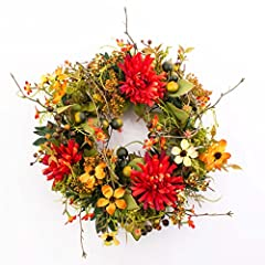 Idea Regalo - Ghirlanda autunnale artificiale con crisantemi, cornioli, bacche, arancione-rosso, Ø 30 cm - Autunno decorazione / Corona decorativa - artplants