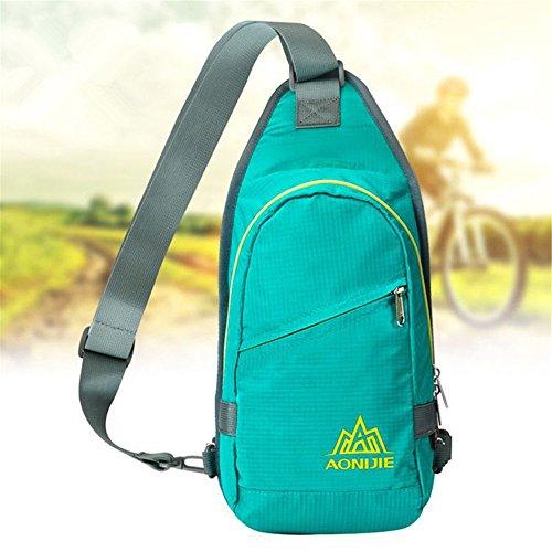 Imagen de aonijie impermeable  de hombro sling pecho bolsa paquete cuerpo cruz bolsas escuela  bookbag para jóvenes mujeres y hombres, azul celeste