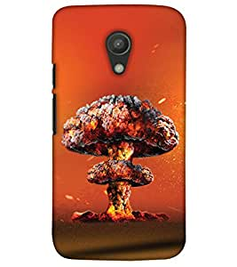 PrintHaat 3D Hard Polycarbonate Designer Back Case Cover for Motorola Moto G2 :: Motorola Moto G (2nd Gen) :: Motorola Moto G XT1068 :: Motorola Moto G (2nd Gen) :: Motorola Moto G Dual SIM (2nd Gen) :: Motorola Moto G Dual SIM 2014 (explosion by volcano :: clouds of gas and fire :: blast in the shape of mushroom in yellow, orange and brown)