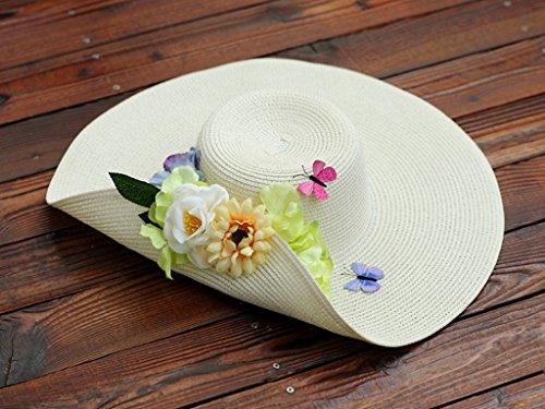Chapeau de soleil d'été Été féminin chapeau de soleil bord de mer Vacances Crème solaire Fleurs ruban Chapeau de plage chapeau de paille Pour les voyages de plage sortants ( Couleur : 10 ) 16