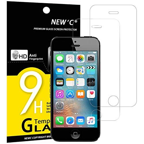 NEW'C Verre Trempé pour iPhone 5,5S,Se,5C,[Pack de 2] Film Protection écran - Anti Rayures - sans Bulles d'air -Ultra Résistant (0,33mm HD Ultra Transparent) Dureté 9H Glass