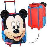 3-D Effekt _ Trolley -' Disney Mickey Mouse' - 2. WAHL - wasserabweisend & beschichtet - für Kinder / Jungen & Mädchen - Maus - Trolly mit Rollen - Kindertrolley Kindertrolly - Reiseset / Kinderkoffer - Koffer - Kindergepäck - Reisetrolley / Gepäck - Handgepäck - Reisekoffer - Reisetrolly - Playhouse Mäuse