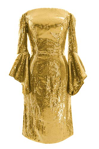 MACloth Bell Sleeve Short Off Shoulder Homecoming Cocktail Dresses for Women (50, Gold)