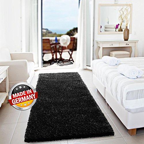 Floordirekt Einfarbiger Unicolor Hochflor Shaggy Teppich Wohnzimmer Langflor versch. Farben und Größe (Schwarz, 80 x 150 cm)