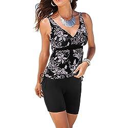 Gwell Maillot de Bain Femme 2 Pièce Bikini Taille Haute Shorty Push Up Dos Nu Noir - FR M = étiquette L