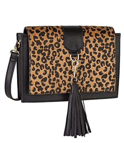 SIX - Damen Handtasche, Umhängetasche, schwarz mit Leoparden Print, Fake Fur, schwarze Quaste, Tassel, abnehmbarer Riemen, klein (463-549) (Handtaschen Aus Leopard-mann)