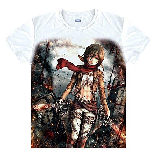 Kostüm Mikasa Cosplay - Attack on Titan Mikasa Ackerman T-Shirt Kostüm Cosplay Weiß