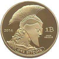 Moneda de Bitcoin, AmaMary 1 piezas de oro de Europa estilo Bitcoin plateado Titán moneda conmemorativa coleccionable física