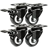 H&S® 4 Heavy Duty 200kg 50mm PU Swivel Castor Wheels Trolley Furniture Caster Rubber