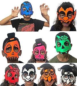 SHATCHI - Juego de 9 máscaras de media cara surtidas para disfraz de Halloween para niños y adultos (paquete de 9), diseño de murciélago, calabaza, calavera, cuervo de miedo, colmillo