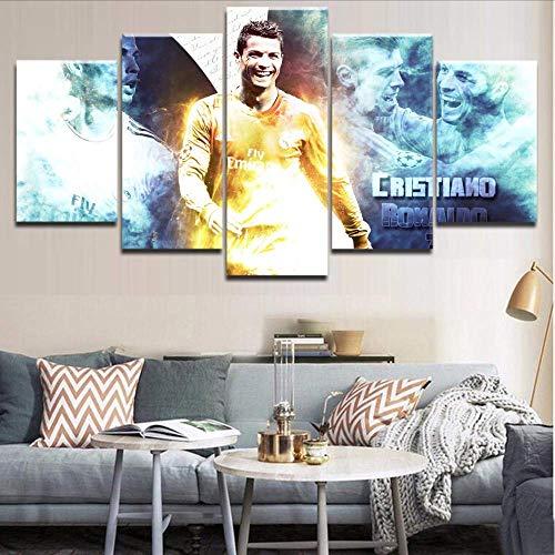Wuwenw 5 Stücke Hd Druckrahmen Sport Cristiano Ronaldo Poster Landschaft Wandkunst Für Moderne Wohnkultur Schlafzimmer Raum Malerei, 16X24 / 32/40 Zoll, Ohne Rahmen (Cristianos Y Halloween)