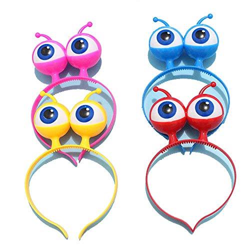 Halloween Kopf Masken Maske, LED Leuchtend Große Augen Alien Kopfstück Requisiten, 4 Sets, Kinderspielzeug, Feier Party Dekoration (Alien Kostüm Weiblich)