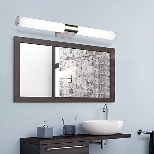 Glighone 8W LED Spiegelleuchte Bad Spiegellampe 40cm Kaltweiß Edelstahl Badleuchte Badlampe Schranklampe Schrankleuchte