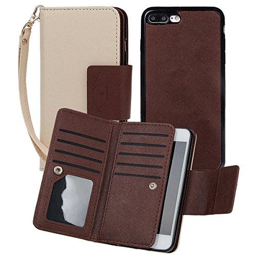 """xhorizon [Aktualisiert] [Luxusgold] [Erklassig] [Magnetisch Auto Mount Kompatible] Premium PU Leder Magnetisch Abnehmbar Mappen Kasten Abdeckung mit Kartensteckplätze Auto-Funktionen iPhone 7 (4.7"""") Khaki"""