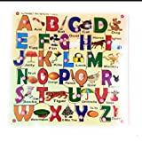 #6: Futurez Key Wooden Capital Alphabet Puzzle Tray with Picture and Knobs. Help Your Kids to Play and Learn