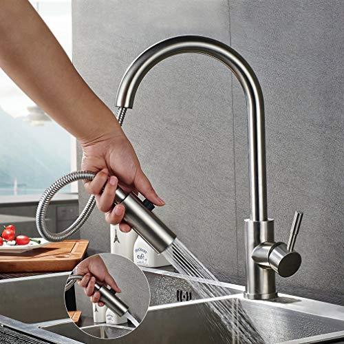 Lonheo Hochdruck Wasserhahn Küche ausziehbar 360° drehbar Küchenarmatur mit 2 Strahlarten Edelstahl Armatur Einhebelmischer Spültischarmatur Mischbatterie für Küche