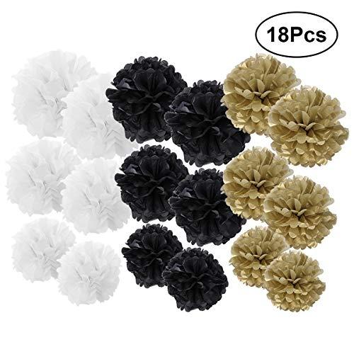 YEAHIBABY DIY Party Deko Set Schwarz Gold Weiß Tissue Papier Pom Poms Papierblumen für Hochzeit Geburtstagsparty Dekoration,18 Stück (6 8 12 Zoll)