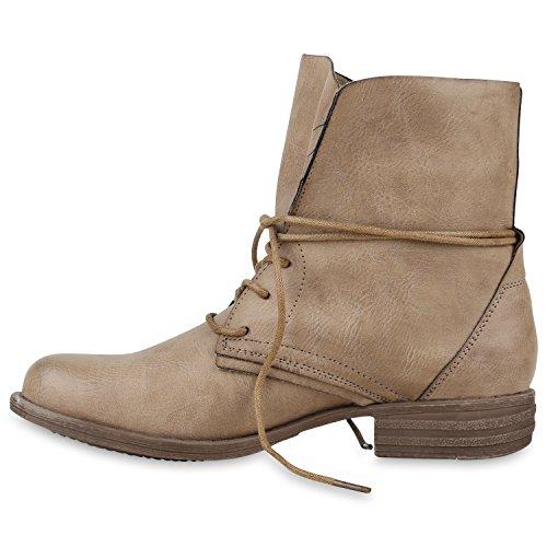 Damen Schuhe Desert Boots   Schnürschuhe Camouflage   Stiefeletten Leder-Optik   Blockabsatz Booties Muster Khaki