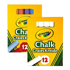 Crayola 1x White and 1x Colour Anti Dust Chalk