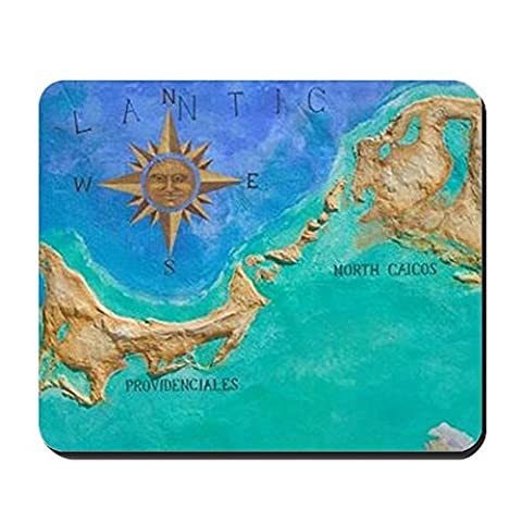 CafePress - Grace Bay: Mural Map Of Turks & Caicos I - Non-slip Rubber Mousepad, Gaming Mouse Pad