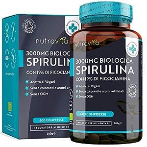 Spirulina Biologica 3000 mg con Ficocianina Grezza 19% - 600 Compresse Vegane - 500mg con Compresse - Prodotto biologico - Prodotto nel Regno Unito da Nutravita 7 spesavip