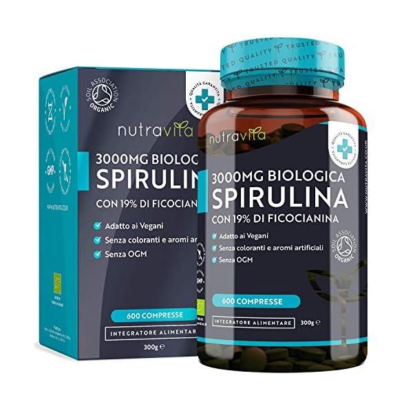 Spirulina Biologica 3000 mg con Ficocianina Grezza 19% - 600 Compresse Vegane - 500mg con Compresse - Prodotto biologico - Prodotto nel Regno Unito da Nutravita 1 spesavip