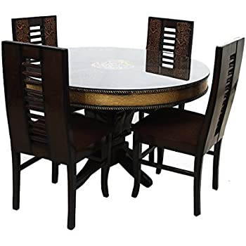 f31822400d Look In Furniture Wood Flora Round Table Dining Set with 4 Chairs,  48x48x30inch (Walnut)