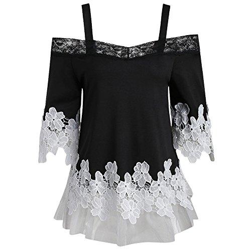 (Milktea Damen Tops Bluse Mode Frauen öffnen Schulter Tops Bluse Sexy Floral Applique Spitze Mesh T-shirt Camis Schwarz Bluse)