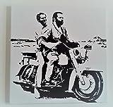 Bud Spencer und Terence Hill in Motorrad–Bild moderne handbemalt auf Leinwand Pop Art Effect (Format 50x 50cm)