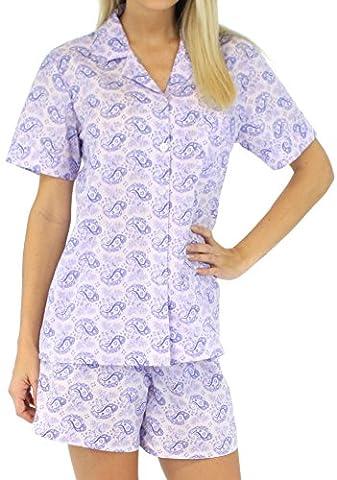 Sleepyheads Ladies Lightweight 100% Cotton Short Sleeve Pyjamas Shorts Button Front PJ Nightwear Set
