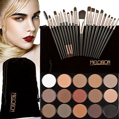 Tonsee 15 Couleur Fard à paupières+ 20 Pcs 20 pièces maquillage brosses Concealer Shadow de poudre pour le visage (Noir+Café)