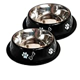 #8: KING INTERNATIONAL STAINLESS STEEL BLACK COLOR DOG BOWL WITH RUBBER BASE 2000 ML (SET OF 2) LARGE SIZE