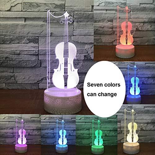 Veilleuses Créative LED, Lampe De Chargement USB Lampe De Chevet Décoration De Maison Dortoir Violon Coloré De Rêve (Edition : Remote Control)