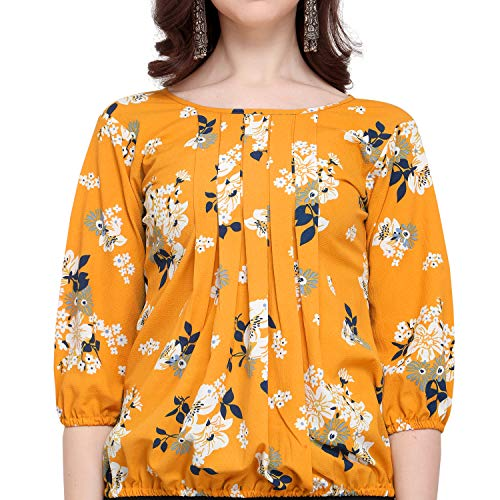 J B Fashion Women's Plain Regular fit Top (Fmania-top-178-M_Yellow Medium)