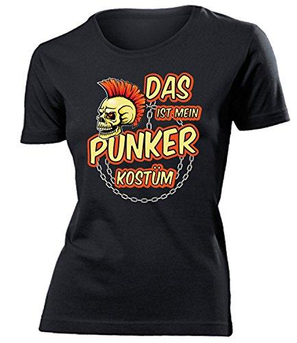 faschingskostuem punker Das ist Mein Punker Kostüm 4480 Damen Karneval Faschingskostüm Fun-T-Shirts Schwarz XL