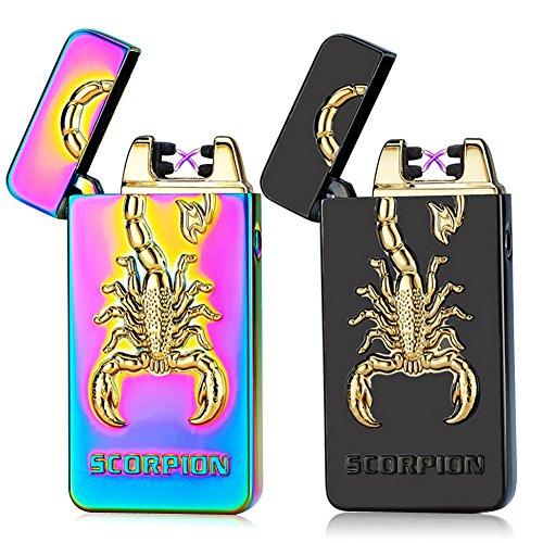 Kivors® Elektronisches Feuerzeug Skorpion tragbar USB aufladbar dopple Lichtbogen tragbar -