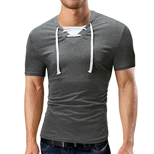 VEMOW New Design Fashion Herren Sommer Casual Tagesgeschäft Datum Sport V-Ausschnitt Solid Bandage T-Shirt Kurzarm Top Bluse Pullover Tees (Dunkelgrau, EU-52/CN-XXL)