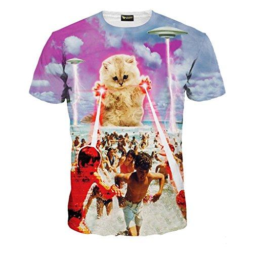 PIZOFF Männer T-Shirt Sommer-Rundhalsausschnitt Kurze Ärmel Katze Muster in Mode Spaß schlank Hip-Hop-Persönlichkeit Bequeme beiläufige Unisex-Tops Y1625-48-XL