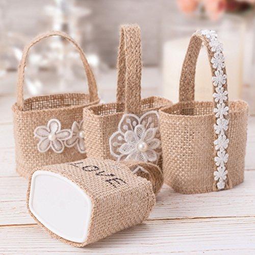 4pcs encaje de arpillera de yute bolsas de dulces pequeños regalos bolsa soporte de cesta para ceremonia de la boda Home Garden Decor flores las niñas niños Little juguete