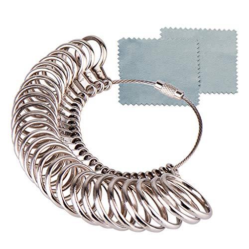 Yue668 Größe US 1-13 Edelstahl Eisen Ring Sizer Fingerring Dimensionierung Messwerkzeug Mit 2 Stück Schmuck Poliertuch (Silber)
