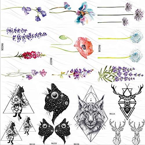 fkleber Rose Blume Lavendel Temporäre Tattoos Aufkleber Benutzerdefinierte Tattoo Sweet Peas Kunst Arm Gefälschte Tatoos Frauen Make-Up Wasserdicht ()