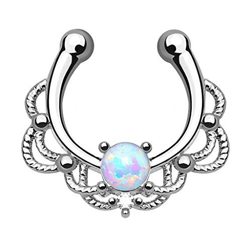 Kultpiercing - Fake Septum Piercing Schmuck Fake Nasenpiercing Clip-On Tribal mit Opal