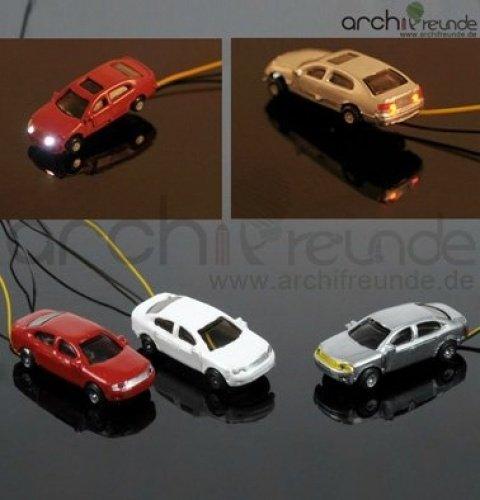 3 x Modell Autos beleuchtet mit LED für Modellbau 1:200, Modelleisenbahn Spur Z